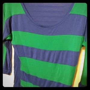 Tops - Royal Blue and Blueish Green Striped 3/4 Sleeve